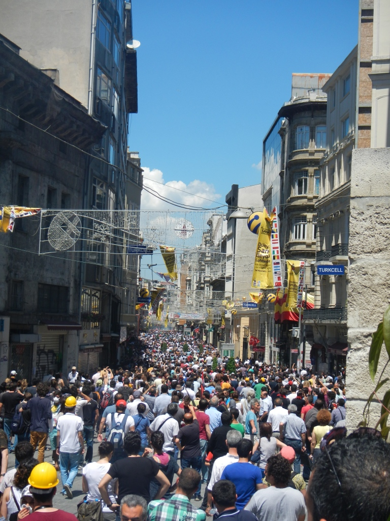 Saturday: The crowd filled Istikal St, one of five gateways to Taksim Square