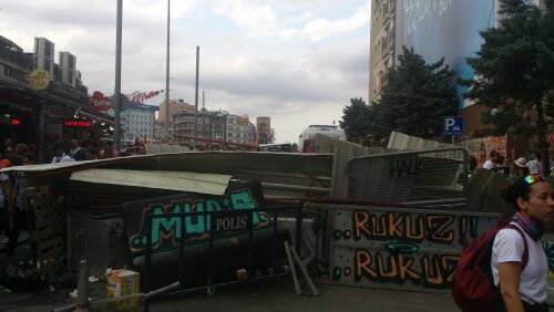 Sunday: A makeshift barricade made by protesters 25m from Taksim Square