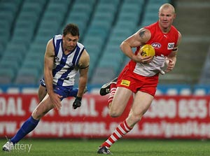 ANZ Stadium,2008: When Sydney and North Melbourne last played together in a final, Barry Hall kicked three goals